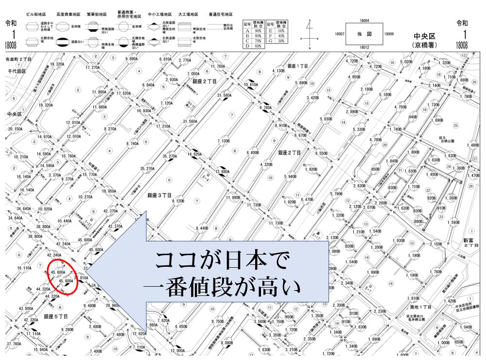 日本で一番高い路線価、銀座、鳩居堂前